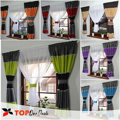 Amazing Voile Net Curtains Ready Made Striped Blue Beige Green White Grey New