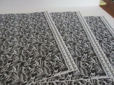 Miniature Dollhouse Wallpaper J. Hermes. Kelly Girl. Black/white 1:12 scale