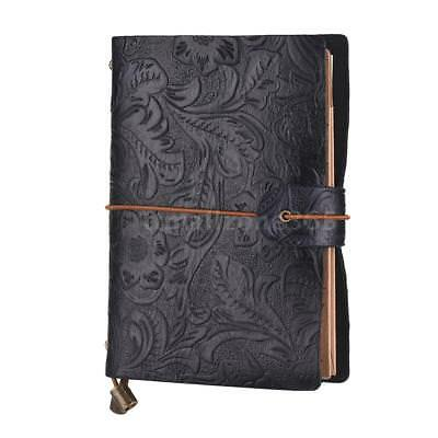 Vintage Leather Notebook Cover Travel Notepad Refillable with Elastic Strap T0Q8