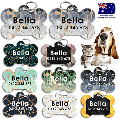 Steel Personalized Pet cat dog Tag Stripes Key ring Name Tags Marble Stone leaf