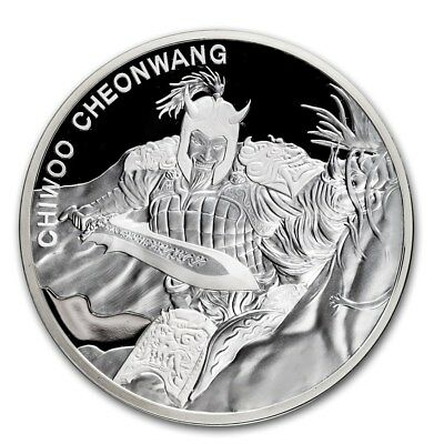 2018 South Korea Chiwoo Cheonwang Series 1 oz Silver Proof Coin With Assay Card