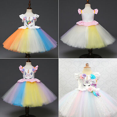 Kids Flower Girls Party Unicorn Tutu Dress Rainbow Wedding Bridesmaid Princess