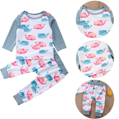 Toddler Kids Baby Girl Boys Whale Tops Pants Leggings 2Pcs Set Outfits Clothes
