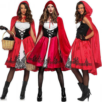 Adult Womens Halloween Little Red Riding Hood Cosplay Costume Party Fancy Dress
