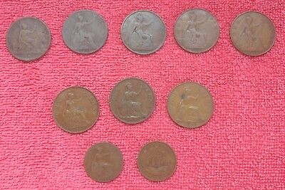 Lot of 10 Great Britain~One Penny~Half Penny~1861~1901~1913~1921~1922~1935~More!