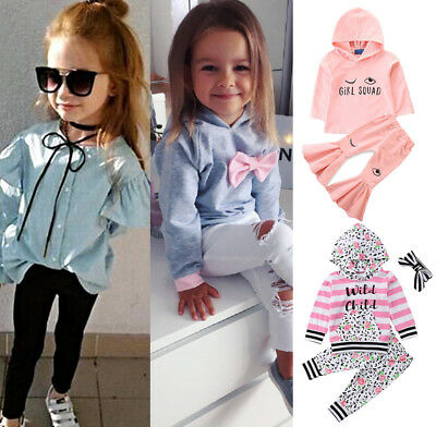 US Cute Toddler Kid Baby Girl Clothes Long Sleeve Tops T-Shirt Pants Outfits Set