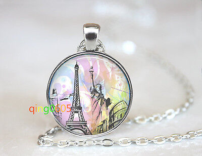The Four Great Cities glass dome Tibet silver Chain Pendant Necklace wholesale