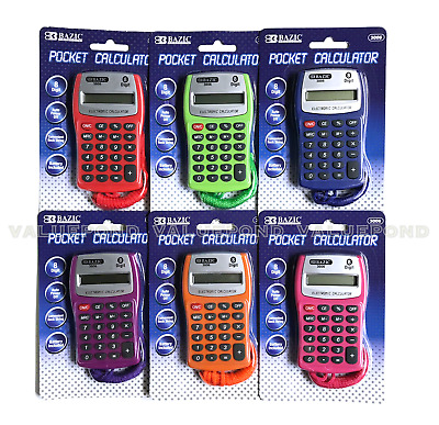 Bazic 8-Digit Pocket Calculator w Neck String Portable Small Assorted Colors NEW