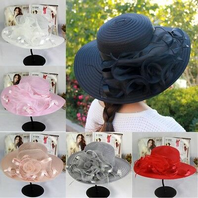 2018 Women Wide Brim Kentucky Derby Sun Hat Wedding Party Church Cap Vintage Lot