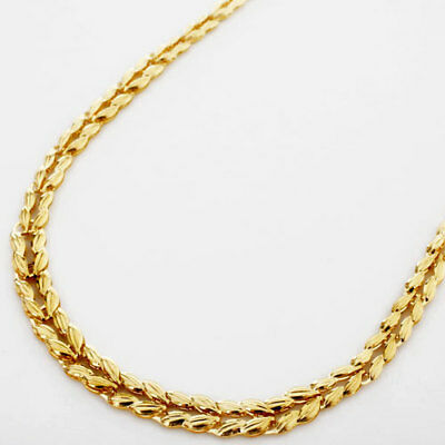 """24K Solid Yellow Gold 6.6g Wheat Motif Folded Plate Links Necklace 16.5"""" Japan"""