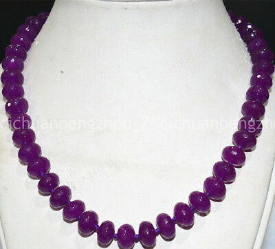 NATURAL Hot 9x12MM beautiful purple red Jade abacus faceted Pearl Necklace 18""