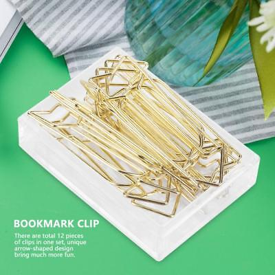 12pcs Gold Alloy Arrow Shaped Paper Clip Funny Stationery Bookmark Marking Clips