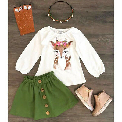 US 2PCS Toddler Kids Baby Girl Xmas Deer Tops Dress Skirts Autumn Outfit Clothes