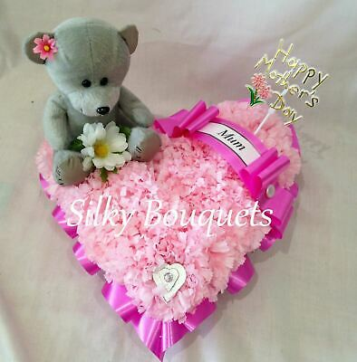 Heart Artificial Silk Funeral Flower Tribute Teddy Bear Memorial Wreath Daughter