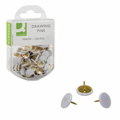 Pack of 120 Quality White Head Drawing Pins - School and Office Supplies