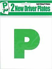2 x Passed 'P' Plates Self Cling Flat Surface Stick Car Driving NEW Driver Green