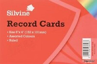 "Silvine Record Cards 6"" X 4"" (152 x 101 mm) Ruled Revision card Assorted Colour"