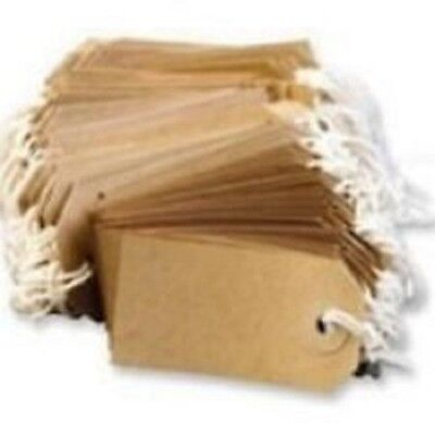 50 LARGE Brown/Buff (Manilla) Strung 134x67mm Tag/Tie On Luggage Craft Labels