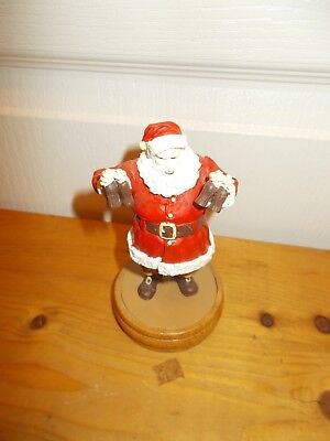 "1989 COCA-COLA SANTA CLAUS 5"" Resin Figure on Wooden Base"