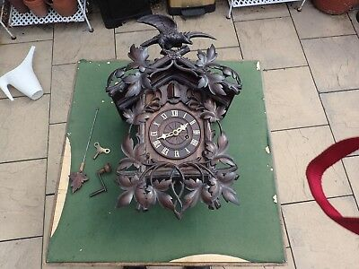 Black Forest 19c Fusee Movement Cuckoo Clock (country House Condition)