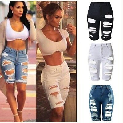 AU Womens Ripped High Waisted Stretchy Denim Jeans Shorts Casual Party Hot Pants