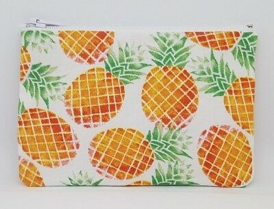 Funky Tropical Pineapple Fabric Handmade Pencil Case Make Up Bag Storage Pouch