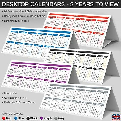 2 Year LAMINATED Desktop Calendar Planner StandUp Tent Card with ruler✔2019✔2020