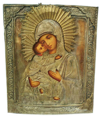 Antique 19th C Russian Icon of Vladimir Mother of God in Brass Riza (Mstera)