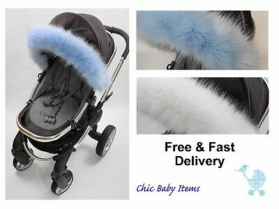 Hood fur trim for pushchair, pram fit Quinny, Silver Cross, Icandy,Bugaboo, Mima