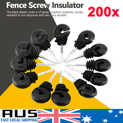"""200Pcs Electric Fence Ring Insulator Timber Wood Post Nail Screw On 9.5Cm 3.74"""""""