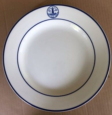 U.s. Light House Service Fantasy China Ware Plate, Dd Lines Navy Blue Collection