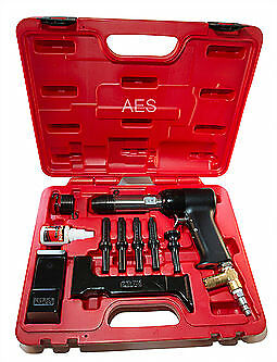 Aircraft Tools New  Deluxe 737 Red Box 4X Rivet Gun Kit With Blocks & Snaps