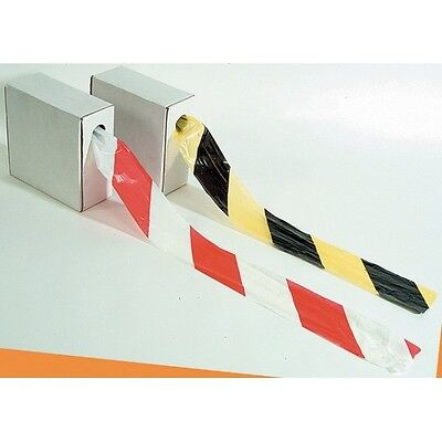 Hazard Barrier Tape Roll - Non Adhesive - 70mm x 500m - Red/White Black/Yellow