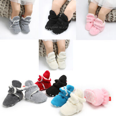 Baby Boy Girl Warm Crib Shoes Plush Slippers Toddler Trainers Prewalker 0-18M US
