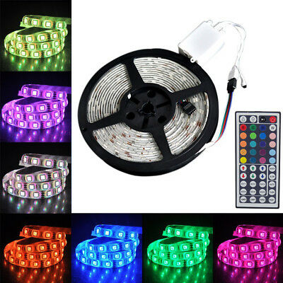5M Waterproof RGB LED Strip 5050 Light 44Key IR Remote Power Supply Adapter Kit