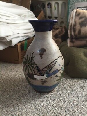 Mexican Sandstone Pottery Vase Hand Painted Pottery Mexico 1299