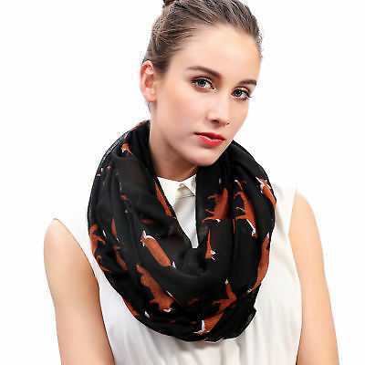 Fox Animal Print Womens Infinity Loop Scarf Soft Lightweight Gift Idea for Her
