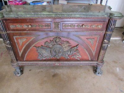 Antique French Empire Style Green Marble Top Cabinet Credenza Paw Bun Feet