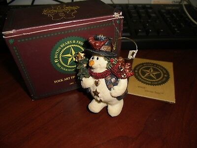 Boyds Bears Folkstone Christmas Ornament JINGLES with Tree Snowman