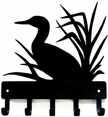 "LOON #6 Metal wall art bird Key Rack Holder Hanger 5 Hooks Made US - 9"" wide LG"