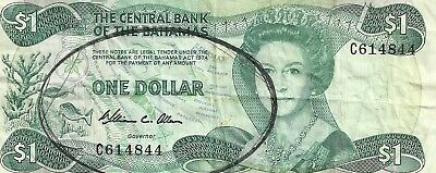 Two Central Bank of the Bahamas $1 One Dollar Bank Notes 1974
