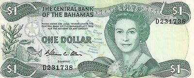Two Central Bank of the Bahamas $1 One Dollar Bank Notes 1974 Crisp