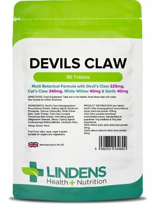 Lindens Devils Claw Tablets (90) Multi Botanical Formula For Arthritis, Joints