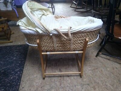 Woven Hooded Moses Basket with Stand - 3 feet long, 20 inch wide, 10 inch deep
