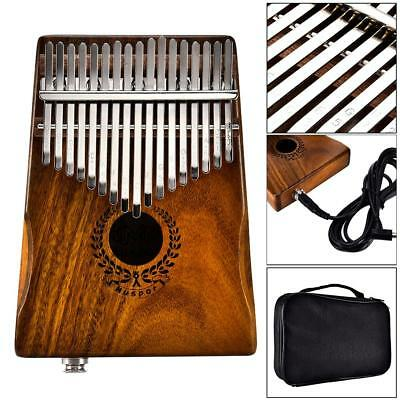 17-Key Kalimba Single Board Thumb Piano Electric Pickup Keyboard Instrument USA