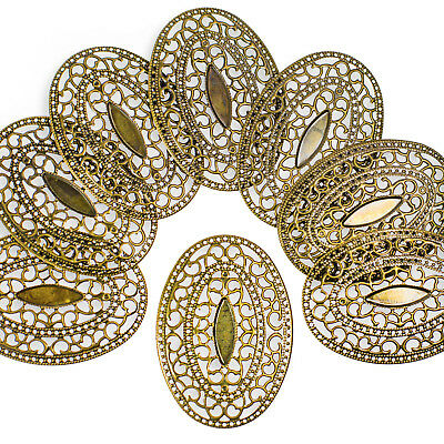 10 Dekoornament oval 65x46x3mm Verzierungen Scrapbooking bronze Metallornament (