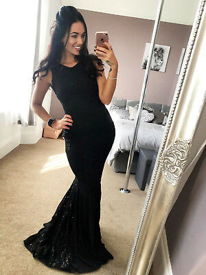 Ladies Black Sequin Lace Fishtail Party Evening Wedding Maxi Dress Womans UK ❤