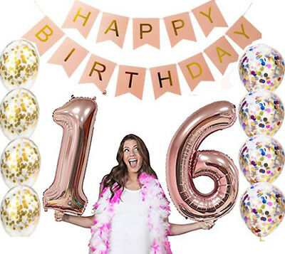 Sweet 16th Birthday Decorations Party Supplies Balloons Rose Gold