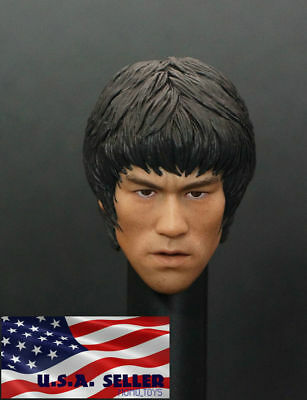 "1/6 Bruce Lee Head Sculpt For 12"" Hot Toys Enterbay PHICEN Male Figure Body❶USA❶"