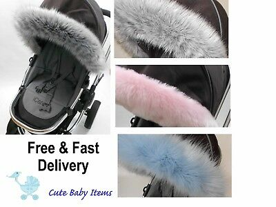 Stokke hood fur  trim, pushchair, pram fit  Venicci, My Babiie, Oyster, ICandy